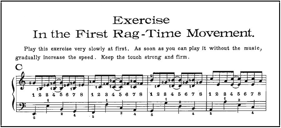 "Example from Christensen's manual of first ""rag-time movement"" or pattern"