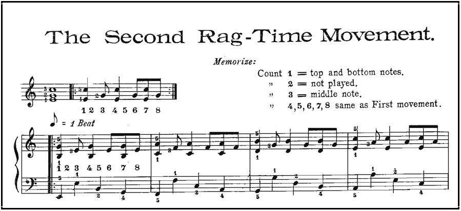 "Example from Christensen's manual of second ""rag-time movement"" or pattern"