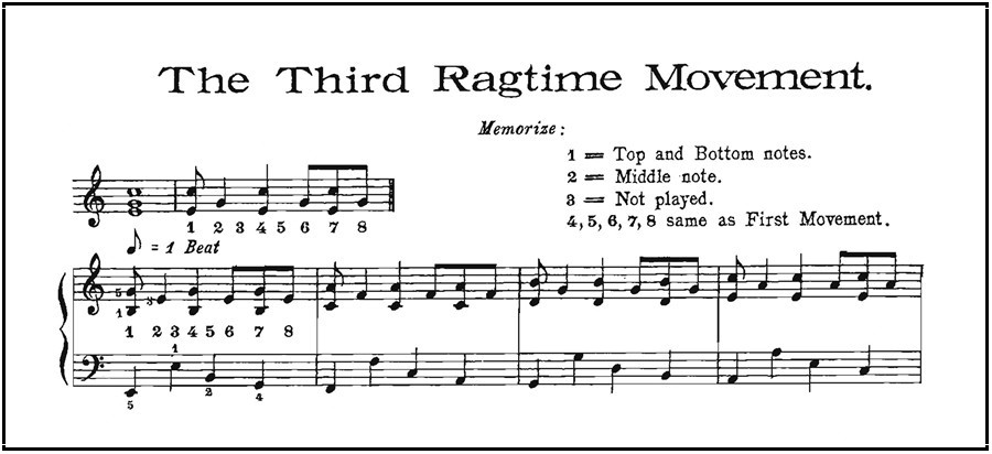 "Example from Christensen's manual of third ""rag-time movement"" or pattern"